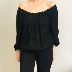 Max Studio Lace Peasant Blouse